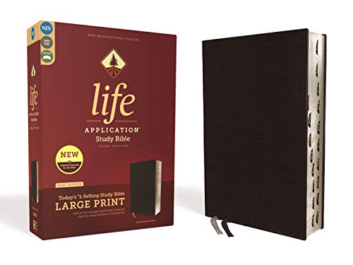 NIV, Life Application Study Bible, Third Edition, Large Print, Bonded Leather, Black, Red Letter, Thumb Indexed