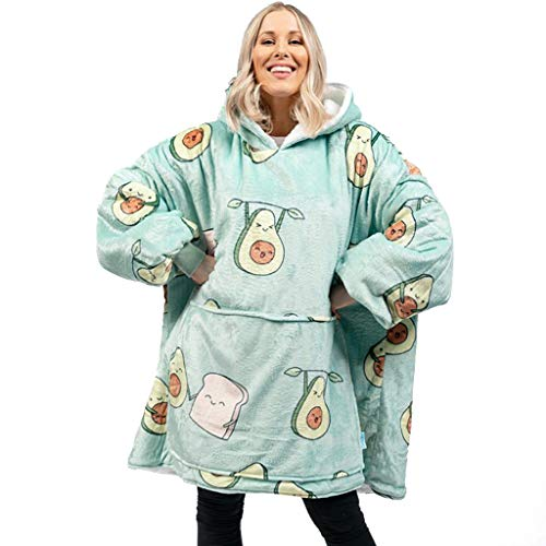 IvyH Übergroße Hoodie Sweatshirt Decke, Modedruck Sherpa Tragbare Decke Warme Gemütliche TV Decke mit Ärmeln und Tasche für Erwachsene Männer Frauen Teenager