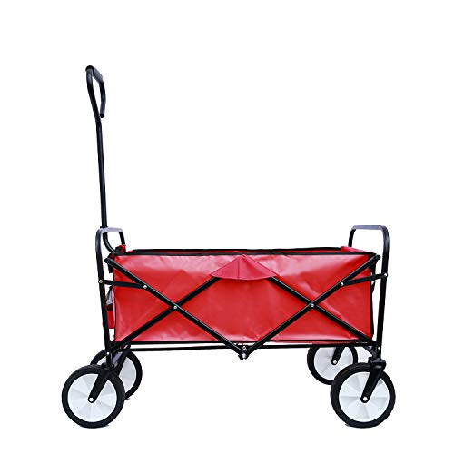 Fesjoy Folding Outdoor Utility Wagon, Folding Wagon Garden Shopping Beach Cart, Capacity 150lbs (Red)