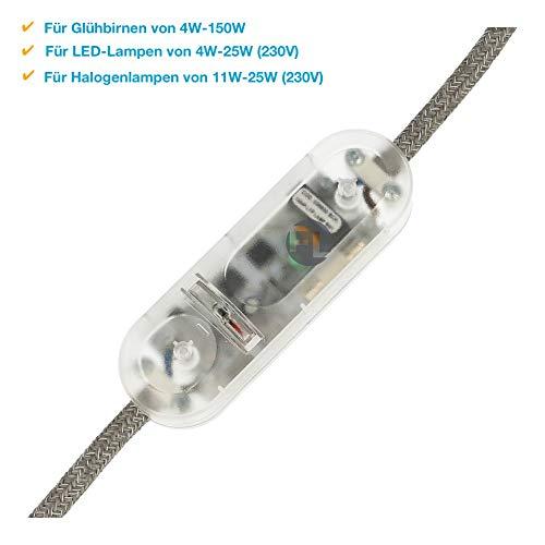 Dimmer für Led Lampen Schnurdimmer mit Schalter Transparnt Universal Licht Led-dimmer 230v stufenloses dimmen auch von Glühlampe mit Memory Funktion Kabeldimmer Handdimmer schnurdimmer Phasenabschnitt