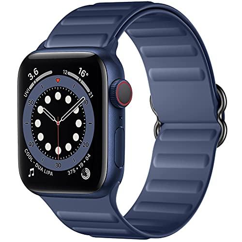 Charlam Compatible con Apple Watch Correa 38mm 40mm 42mm 44mm, Deportivas de Suave Silicona Correas de Repuesto, Compatible con iWatch SE Series 6 5 4 3 2 1, 42mm/44mm, Azul