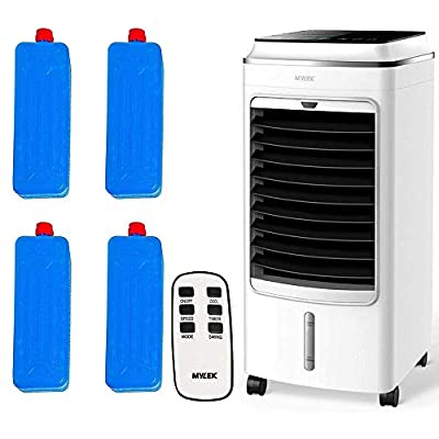MYLEK Portable Air Cooler Evaporative Mobile With Remote Control, LED, Timer, Air Purifier Ioniser, 3 Speeds, 3 Wind Settings, Oscillation, Cooling & Humidifier Function