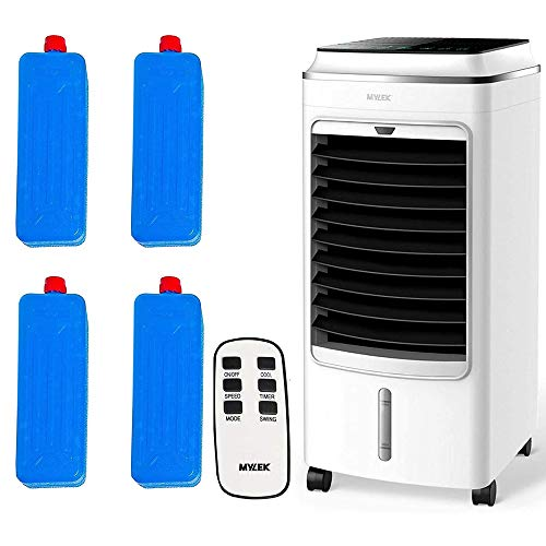 MYLEK Portable Air Cooler Evaporative Mobile With Remote Control, LCD, Timer, Air Purifier Ioniser, 3 Speeds, 3 Wind Settings, Oscillation, Cooling & Humidifier Function