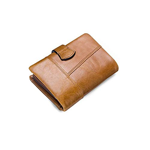 KK Zachary Men's Wallet Leather Short Wallet Zipper Coin Purse Stitching Clutch Bag Casual Party Business Gift (Color : Beige)
