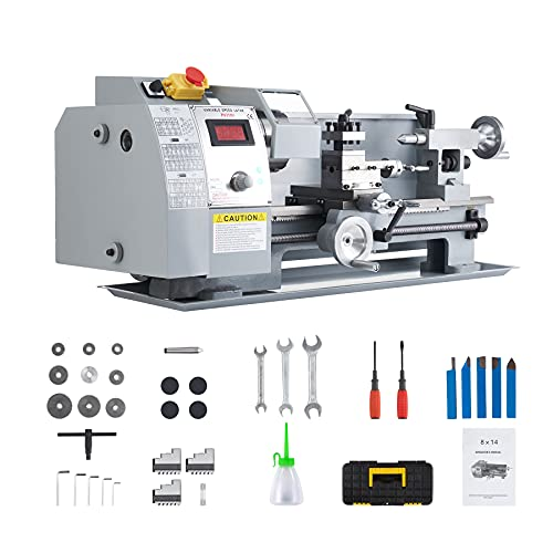 CO-Z 8x14 Mini Lathe Machine with 600W Metal Gear Brushed Motor | 50-2250 rpm Wood Metal Turning Cutting Drilling Benchtop Metal Lathe with Accessories for Home and Shop DIY Woodworking and Milling