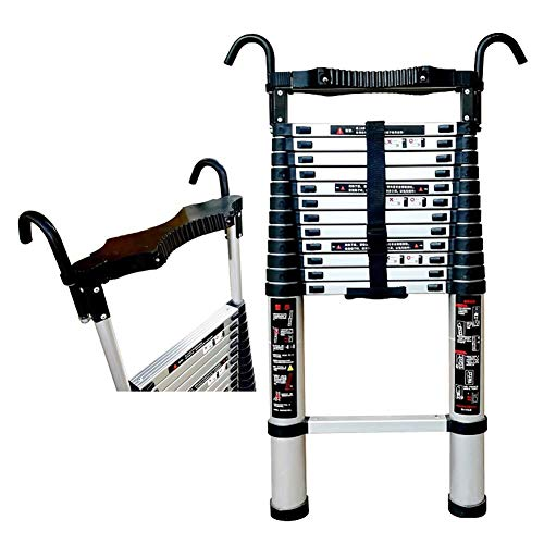 CCLLA Telescopic Extension Ladder with Hooks, Multi-Purpose Aluminium Portable Ladder for Home Office Warehouse Building Use, Load 150kg (Size : 4.4m/14.4ft)