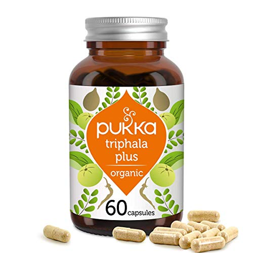 Pukka Triphala Plus Organic Herbal Supplement | Ayurvedic fruits, psyllium husk and linseed | Effective for daily movements | Non-GM | Suitable for Vegetarians & Vegans | 60 capsules