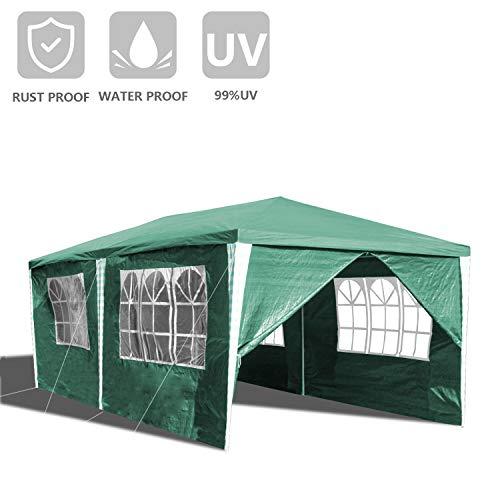 wolketon 3x6M Garten Pavillon Wasserdicht UV Schutz Festzelt mit 5 Seitenteilen,3transparenten Fenstern