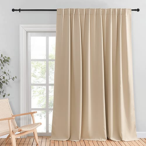 NICETOWN Room Divider Curtain, Glass Door Curtains for Window, Wide Thermal Curtain Panels, Sliding Door Drapes, Extra Wide Curtains (Biscotti Beige, 100 inches Wide x 95 inches Long, 1 Piece)