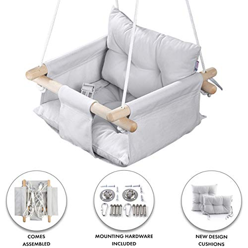 Cateam Canvas Baby Swing Grey - Wooden Hanging Swing Seat Chair for Baby with Safety Belt and mounting Hardware. Baby Hammock Chair Birthday Gift.