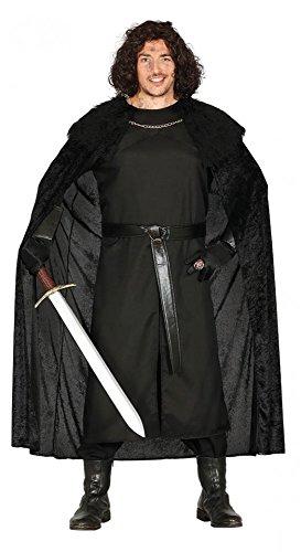 shoperama Herren-Kostüm Mittelalter-Wächter GoT Wow LARP Krieger Warrior Umhang mit Pelzkragen, Größe:XL