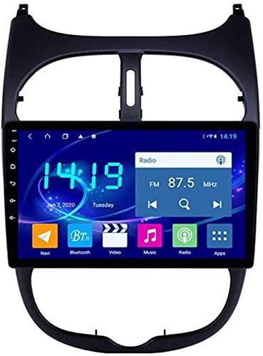 IF.HLMF Adecuado Compatible para Peugeot 206 Navegación para automóvil Máquina integrada Reproductor Multimedia Radio Navegador GPS para automóvil Instalación CarPlay 4G + 64G