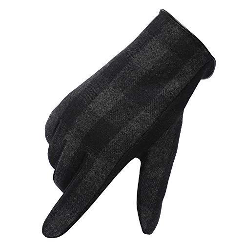 Warme handschoenen van winterwol en handschoenen voor touchscreen, koud, voor paardrijden buiten, compatibel met handschoenen voor mannen en vrouwen, zwart