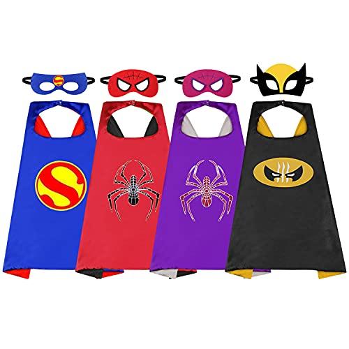 4 pzs Capas de superhéroe para niños,Conjunto de cosplay de traje de fiesta de superhéroe para niños de 3-12 años Chicos De Chicas Capa de araña hombre para fiesta de festival suministros de vestir