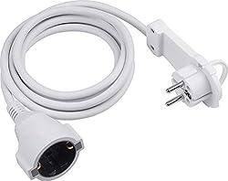 Meister Schutzkontakt-Verlängerung - Extraflacher Stecker - 2 m Kabel - weiß - IP20 Innenbereich / Kupplung mit Berührungsschutz / Schuko-Verlängerung mit Flachstecker / Stromkabel / 7432230
