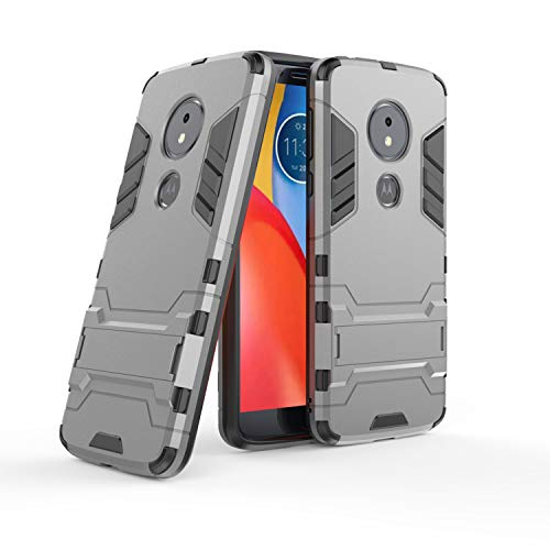 COOVY® Cover für Motorola Moto E5 / Moto G6 Play Bumper Hülle, Doppelschicht aus Plastik + TPU-Silikon, extra stark, Anti-Shock, Standfunktion   Farbe grau