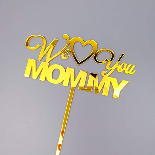 MALAT Best Mom Acrylic Cake Topper Pink Gold We Love You Mommy Cake Topper For Mother's Day Mum Birthday Party Cake Decorations,2