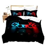 Teen Gaming Bedding Set Xmas Gamer Gift for Boys Comforter Cover Kids Girls Young Man Video Games Duvet Cover Chic Abstract Gamepad Bedapreads Cover Black Red Blue Luxury Soft Microfiber,Queen Size