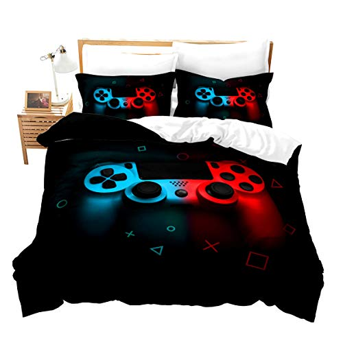 Gamer Duvet Cover for Boys,Gaming Comforter Cover Full,Cool Games Gamepad Bedding Set Kids Teen Game Room Decor Bed Cover,Video Game Controller,Modern Gradient Soft Red and Blue Bedclothes with Zipper