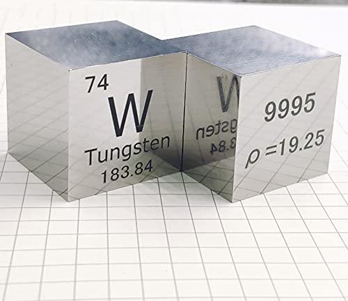 TWY Cubo metálico de Tungsteno de 25.4 mm, 99,9% 315.28g, Mesa periódica grabada Materiales para experimentos de Laboratorio 1pcs