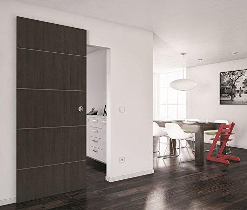 Schuifdeurbeslag SLIDO CLASSIC 80-M voor houten deuren met softclose-demping | schuifdeursysteem tot 80 kg deuren | rails lengte 1100 mm | 1 - beslagset schuifdeursysteem voor kamerdeuren modern 1 Garnitur - Länge: 1100 mm Aluminium zilver geanodiseerd