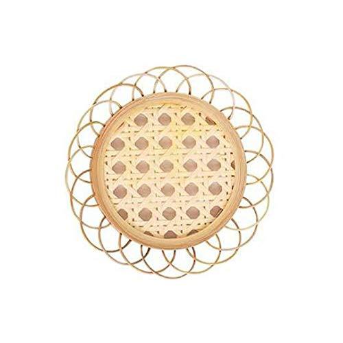 ASSR Set di 4 sottobicchieri in rattan di bambù intrecciati a mano, stile vintage, rustico, tovagliette, tazzine da caffè retrò a forma di fiore
