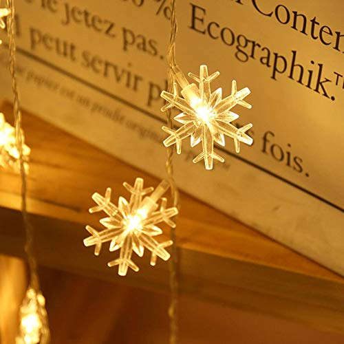 N\C Decoración de Luces de Navidad Luces de Copo de Nieve LED Cadena de Luces pequeñas de Colores Luces Colgantes de Festival Diseño de árbol de Navidad Batería USB