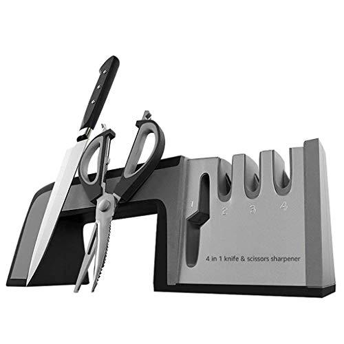 HAR Küche Schnellschleifer, Profi Level 3 Schärfsystem Werkzeug, Haushaltsschärfwerkzeug Schere Whetstone, Anti-Rutsch-Basis-Schwarz