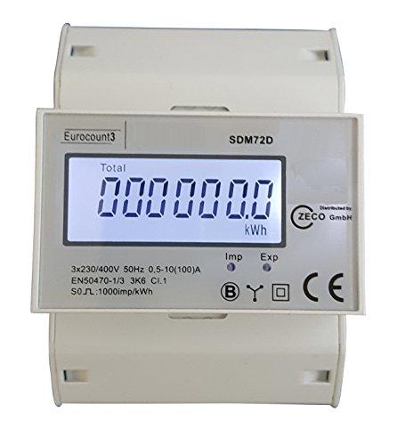 Preisvergleich Produktbild Zeco GmbH Eurocount3 digitaler Stromzähler Drehstromzähler für DIN Hutschiene,  100A mit S0-Schnittstelle