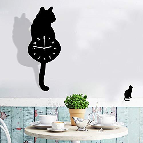 Artensky Wall Clock Acrylic Modern Cute Cat Clock Shaking Tail Home Decor Move Silence (Black)
