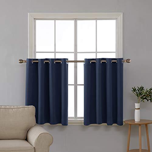 Deconovo Scheibengardine Vorhang mit Ösen Halbgardinen Verdunkelung Wohnzimmer Tür 92x140 cm Dunkelblau2er Set