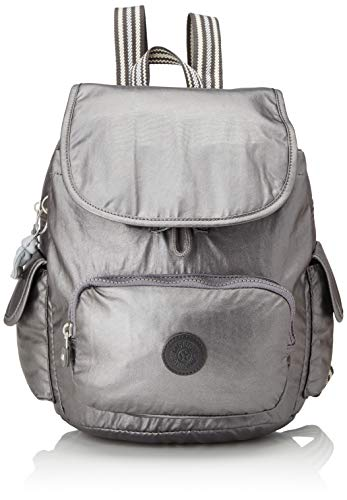 Kipling City Pack S - Zaini Donna, Nero (Carbon Metallic), 27x33.5x19 cm