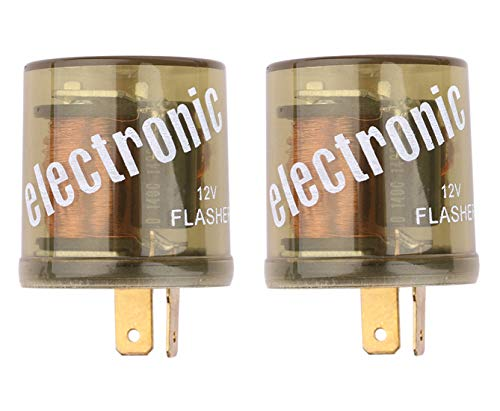 Turn Signal Flasher Relay, Sdootauto 12V 2 Pin Heavy Duty LED Electronic Fixed Compatible Turn Signal Flasher Relay- 2 Pack