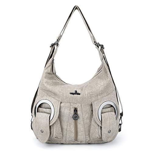 Soft Washed Leather Hobo Women Handbags Roomy Multiple Pockets Street ladies' Shoulder Bag Fashion Satchel Bag (W6802#N162#29-STONE)