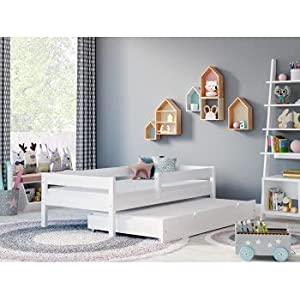 Children's Beds Home - Cama individual con nido - Mateo para niños niño niño niño menor - Mateo - 180x90, blanco, colchón de espuma de 9 cm