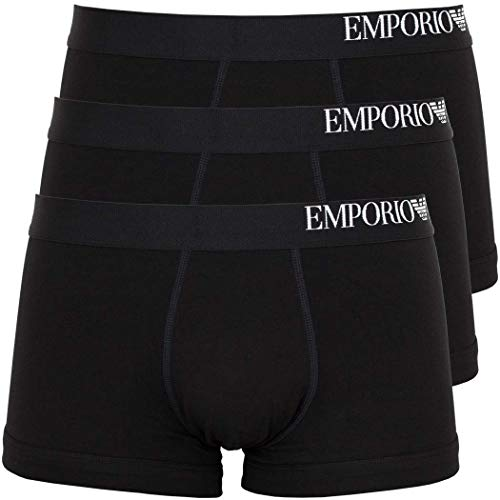 Emporio Armani Underwear Herren 3-Pack Trunk Unterwäsche, Nero/Nero/Nero-Black/Black/Black, XL