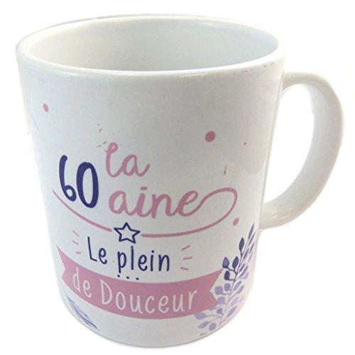 Les Trésors De Lily [P5459 - Mug céramique '60 Ans' Blanc Rose (Le Plein de Douceur)