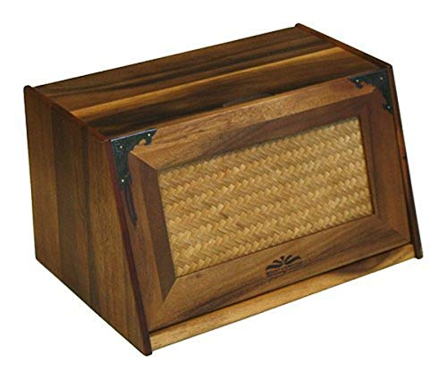 "Mountain Woods Brown Antique Style Extra Large Acacia Wooden Bamboo Bread Box and Storage Container Box with Rattan Lid - 16""x 10.5""x 9"""