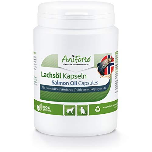 AniForte Huile de Saumon de Norvège 200 Capsules pour Chiens et Chats, Omega-3 acides gras, Très riche en Antioxydant, Beauté du Pelage, EPA DHA ALA, Barf Supplément