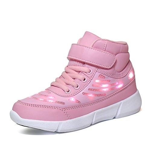 Dannto Kinder LED Schuhe Leuchten Sportschuhe Leuchtschuhe Blinkschuhe USB Aufladen Farbwechsel Sneakers Turnschuhe für Mädchen Jungen(Rosa,31)