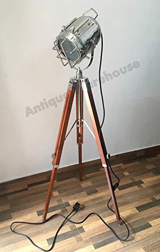 Hecho a mano náutico cromo punto luz lámpara de pie con trípode de madera Marine Studio Searchlight hogar decorativo E 27 bombilla lámpara