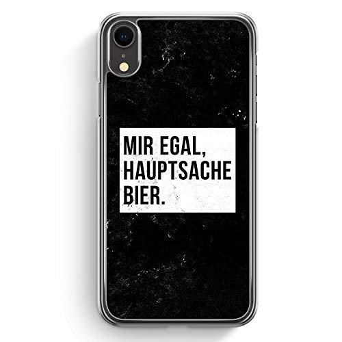 Mir Egal Hauptsache Bier - Hülle für iPhone XR Hardcase Cover - Motiv Design Cool Witzig Lustig Spruch Zitat Grunge - Transparente Durchischtige Handyhülle Schutzhülle Hülle Schale