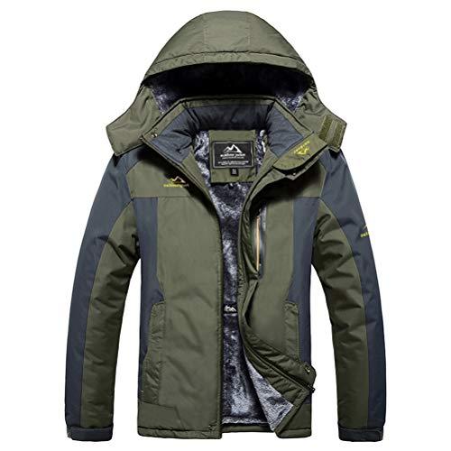 Mens Winter Jackets Mountain Fleece Warm Jacket Hiking Jackets Ski Jackets Men Snow Jackets Softshell Windproof Jackets Army Green