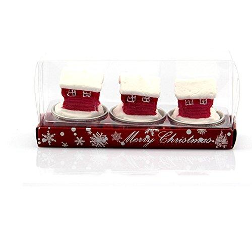 Toruiwa Kerzen Teelichter Weihnachten Deko Romantische Rauchfrei Teelicht für Weihnachten Geburtstag Vorschlag Hochzeit Party (Weihnachtshaus)