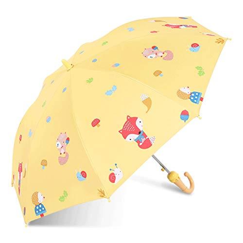 Schatten Sonnenschirm 90 * 70cm Sonnenschirm Lange Gerade Griff scherzt Regenschirm Halbautomatische Sicherheit Studenten Männer und Frauen Regenschirm tragbar (Color : Yellow)