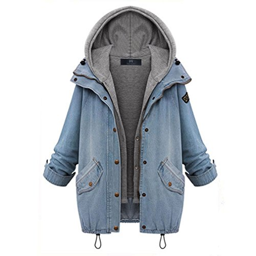 East Castle Women's Zip Up Blue Denim Coat Jacket with Hoodie Vest US 18