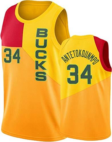 WSUN Camiseta De Baloncesto Ropa De Baloncesto para Hombres - NBA Bucks # 34 Giannis Antetokounmpo Fan Jersey Chalecos Sin Mangas Bordados Clásicos,B,S(165~170CM/50~65KG)