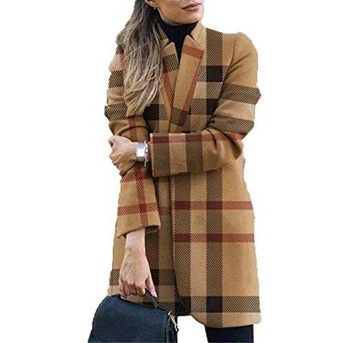 ZFQQ Abrigo de Lana con Cuello Alto Estampado de Moda para Mujer de otoño e Invierno