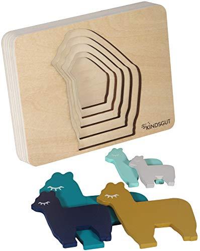 Kindsgut Tier-Puzzle, Lagen-Puzzle, Motorik-Spielzeug aus Holz, praktische Größe für zuhause und unterwegs, Lama