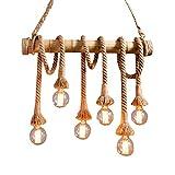 Aiwen Lámpara de techo, con cuerda de cáñamo, diseño de araña (bombillas no...